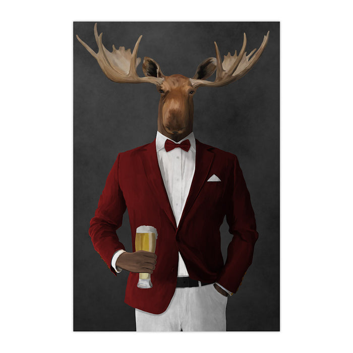 Moose drinking beer wearing red and white suit large wall art print
