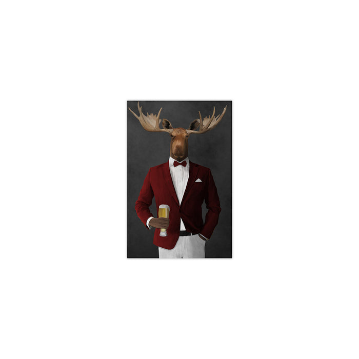 Moose drinking beer wearing red and white suit small wall art print