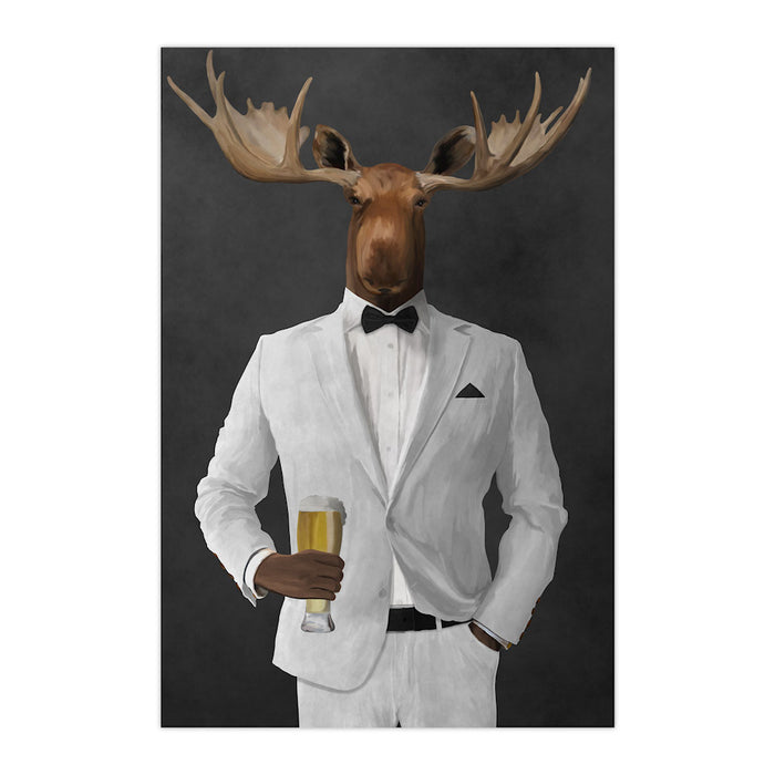 Moose drinking beer wearing white suit large wall art print