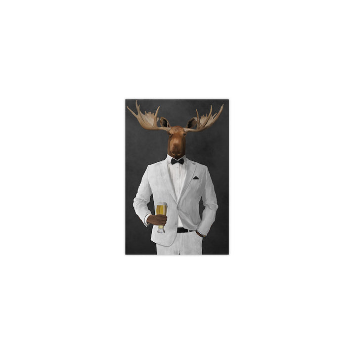 Moose drinking beer wearing white suit small wall art print