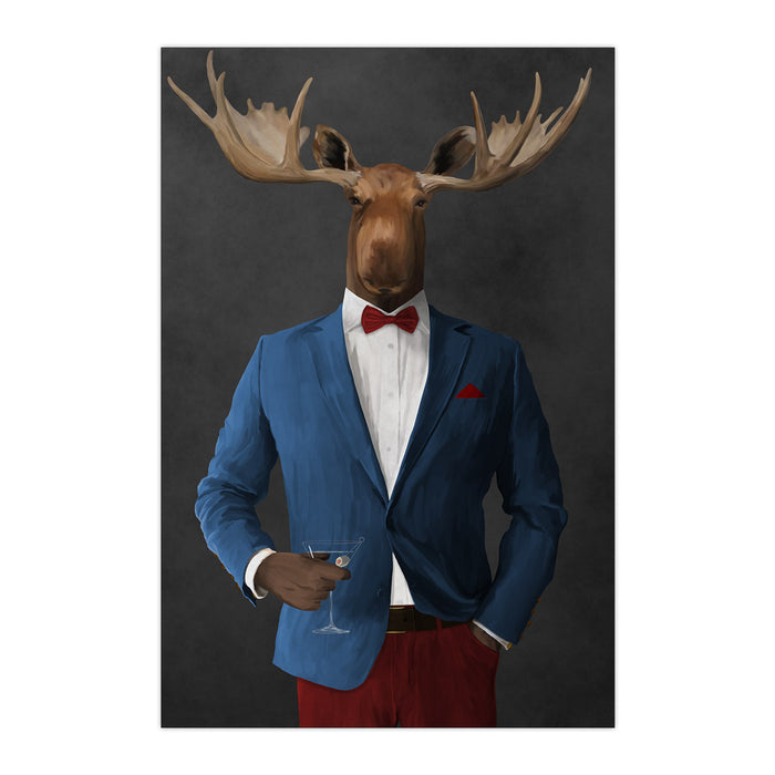 Moose drinking martini wearing blue and red suit large wall art print