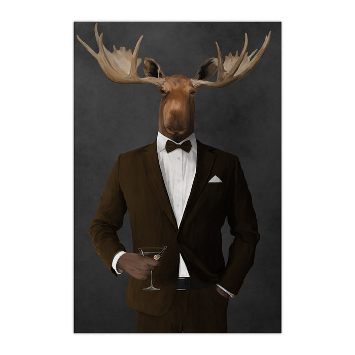 Moose drinking martini wearing brown suit large wall art print