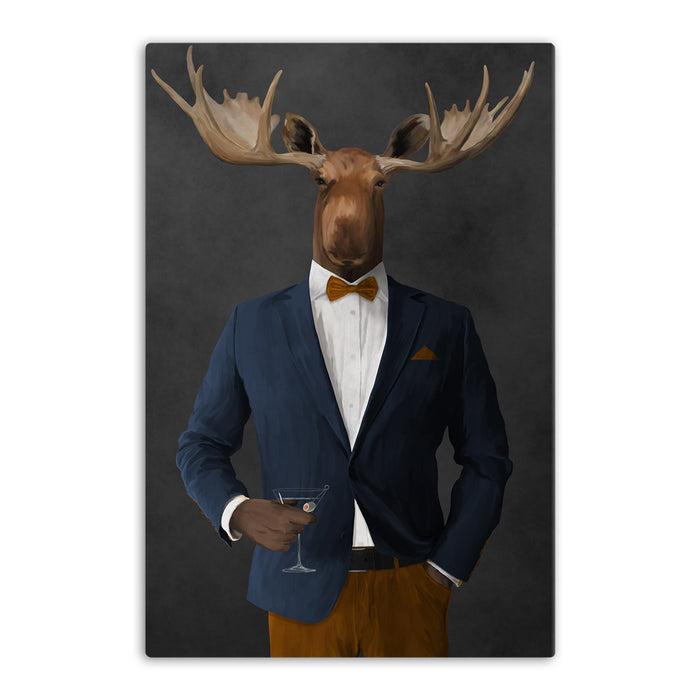 Moose drinking martini wearing navy and orange suit canvas wall art