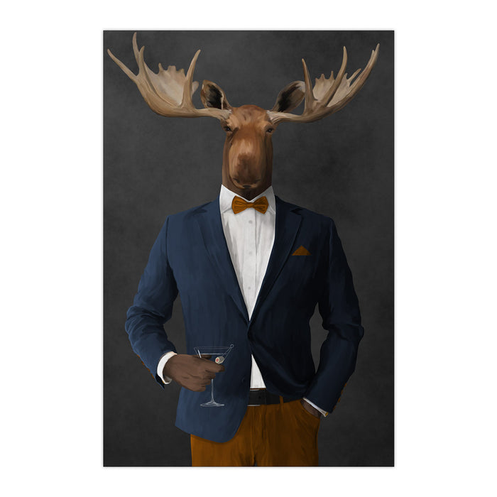 Moose drinking martini wearing navy and orange suit large wall art print