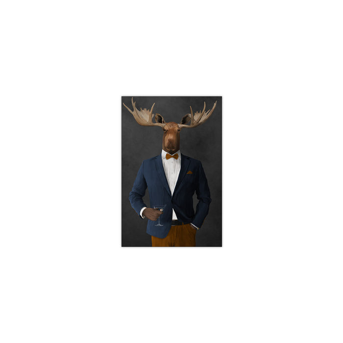 Moose drinking martini wearing navy and orange suit small wall art print