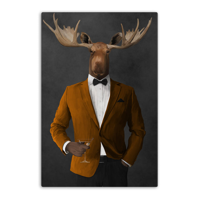 Moose drinking martini wearing orange and black suit canvas wall art