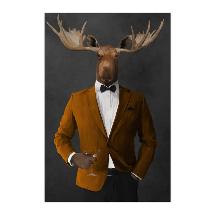 Moose drinking martini wearing orange and black suit large wall art print