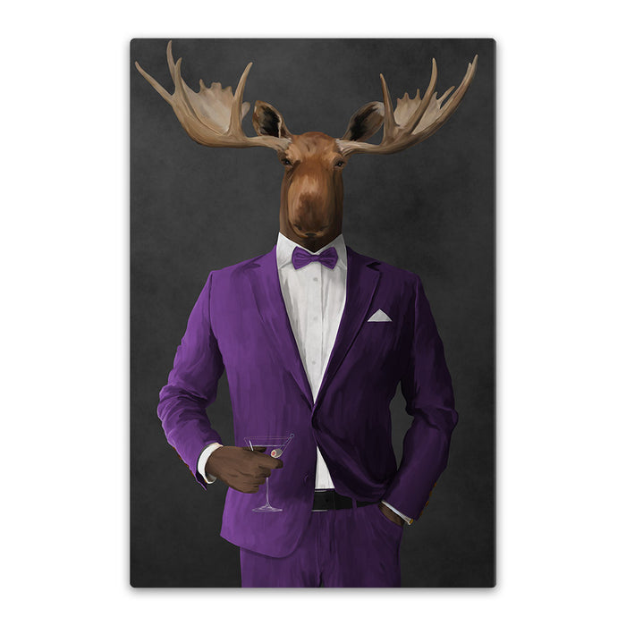 Moose drinking martini wearing purple suit canvas wall art