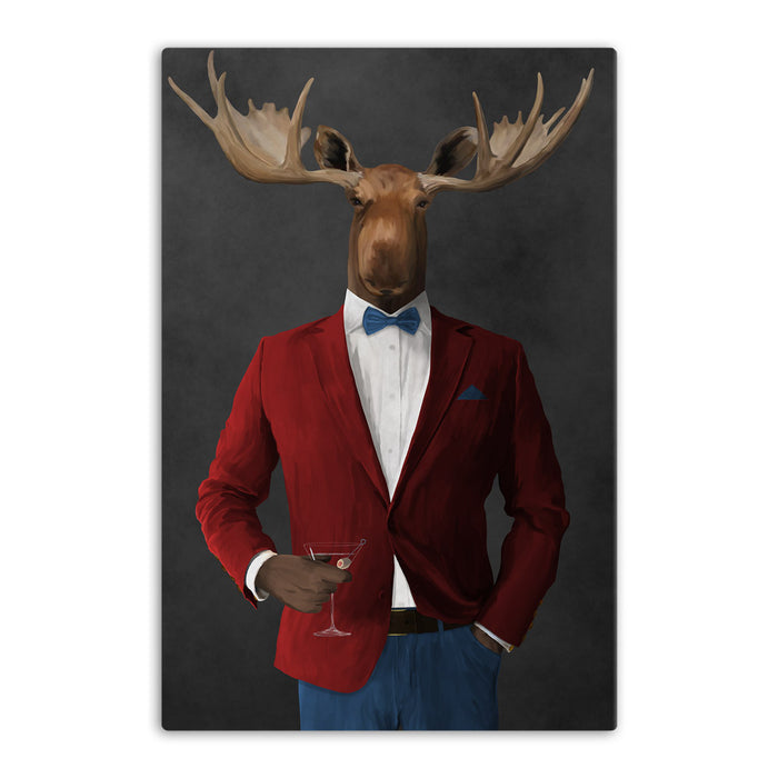 Moose drinking martini wearing red and blue suit canvas wall art