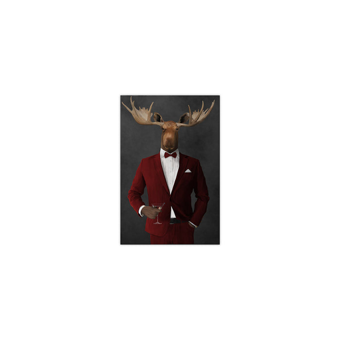 Moose drinking martini wearing red suit small wall art print