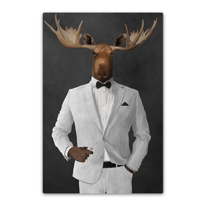 Moose drinking martini wearing white suit canvas wall art
