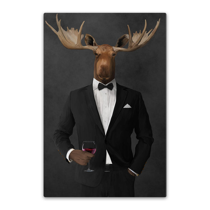 Moose drinking red wine wearing black suit canvas wall art