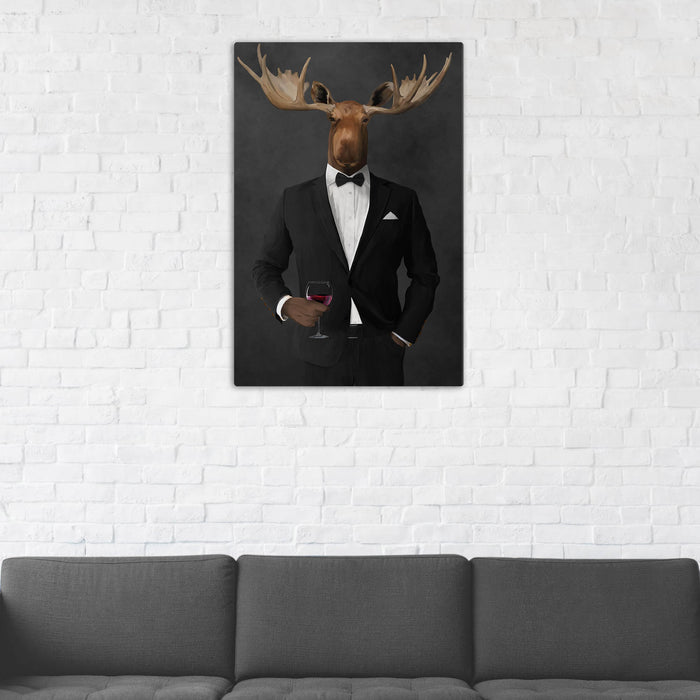Moose Drinking Red Wine Wall Art - Black Suit