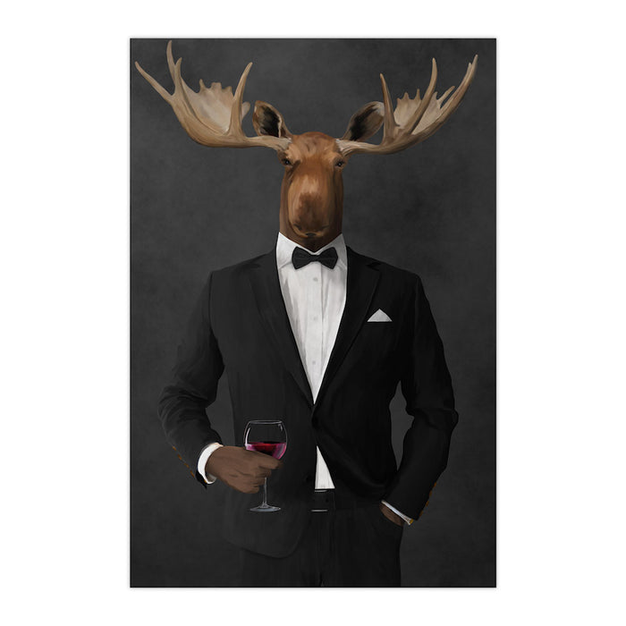 Moose drinking red wine wearing black suit large wall art print