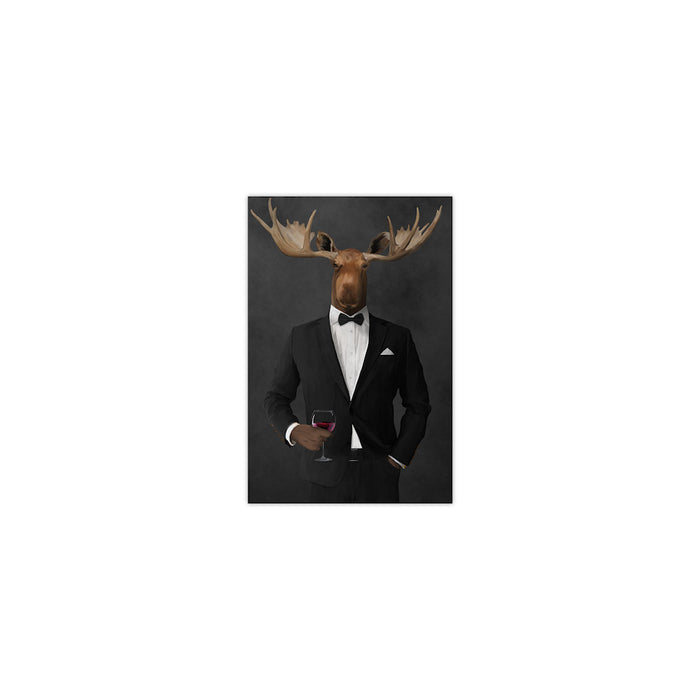 Moose drinking red wine wearing black suit small wall art print