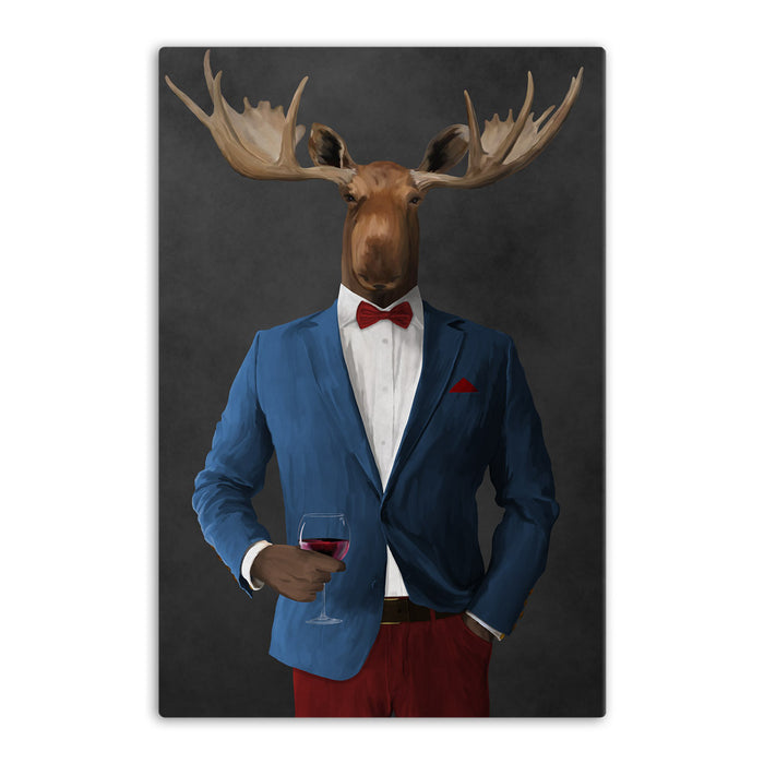 Moose drinking red wine wearing blue and red suit canvas wall art