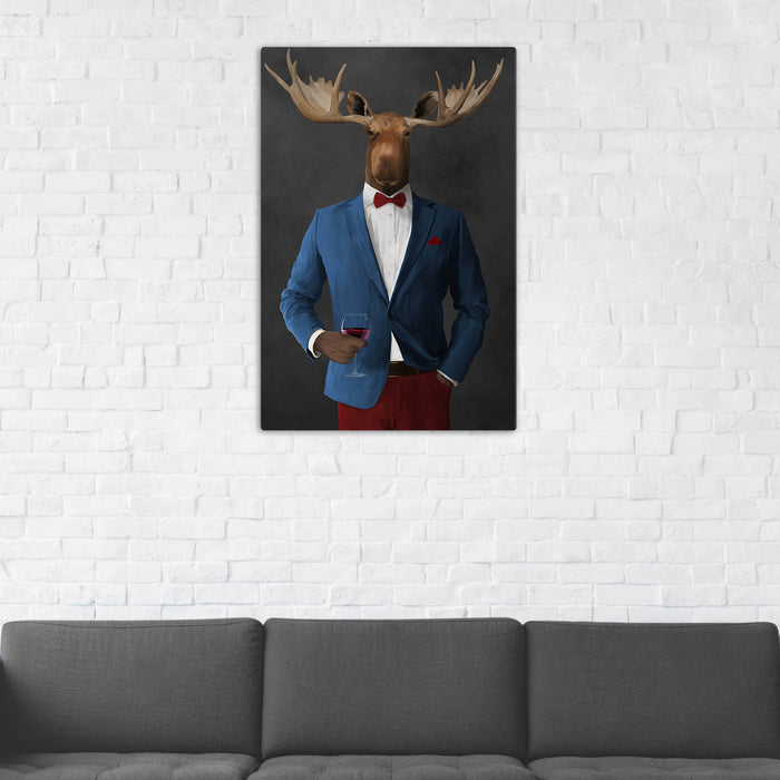 Moose Drinking Red Wine Wall Art - Blue and Red Suit