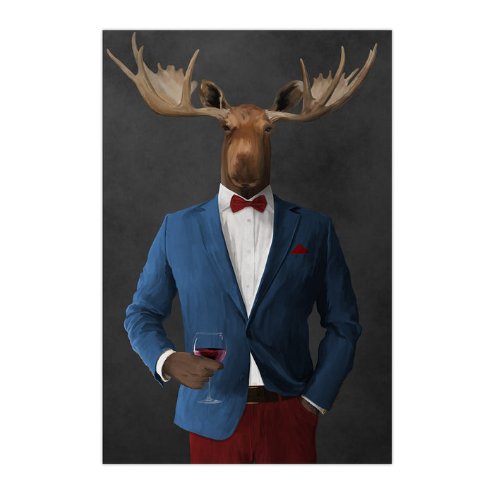 Moose drinking red wine wearing blue and red suit large wall art print