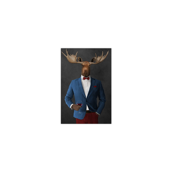 Moose drinking red wine wearing blue and red suit small wall art print