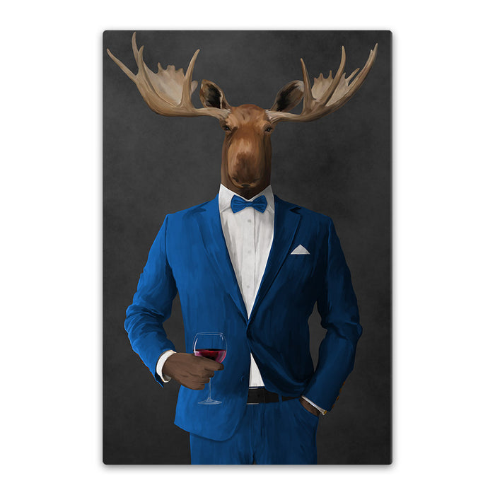 Moose drinking red wine wearing blue suit canvas wall art