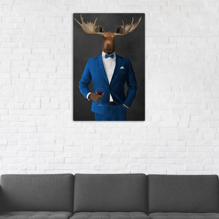 Moose Drinking Red Wine Wall Art - Blue Suit