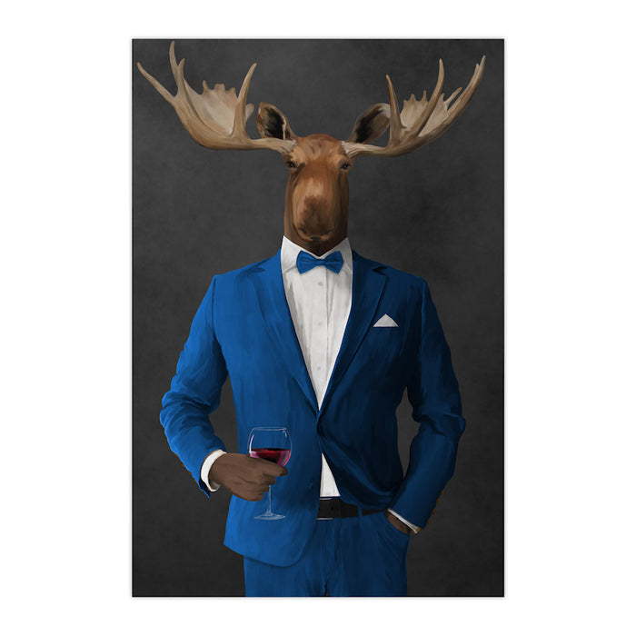 Moose drinking red wine wearing blue suit large wall art print
