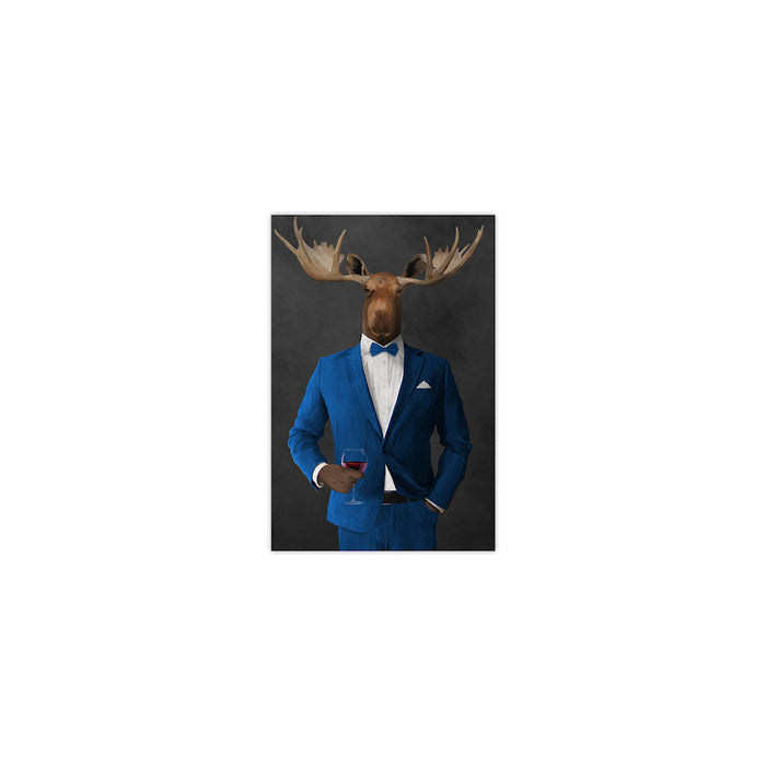 Moose drinking red wine wearing blue suit small wall art print