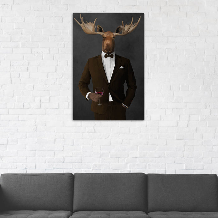 Moose Drinking Red Wine Wall Art - Brown Suit