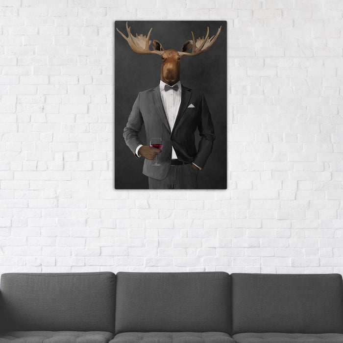 Moose Drinking Red Wine Wall Art - Gray Suit
