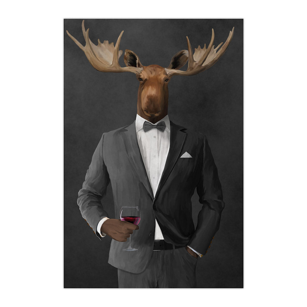Moose drinking red wine wearing gray suit large wall art print