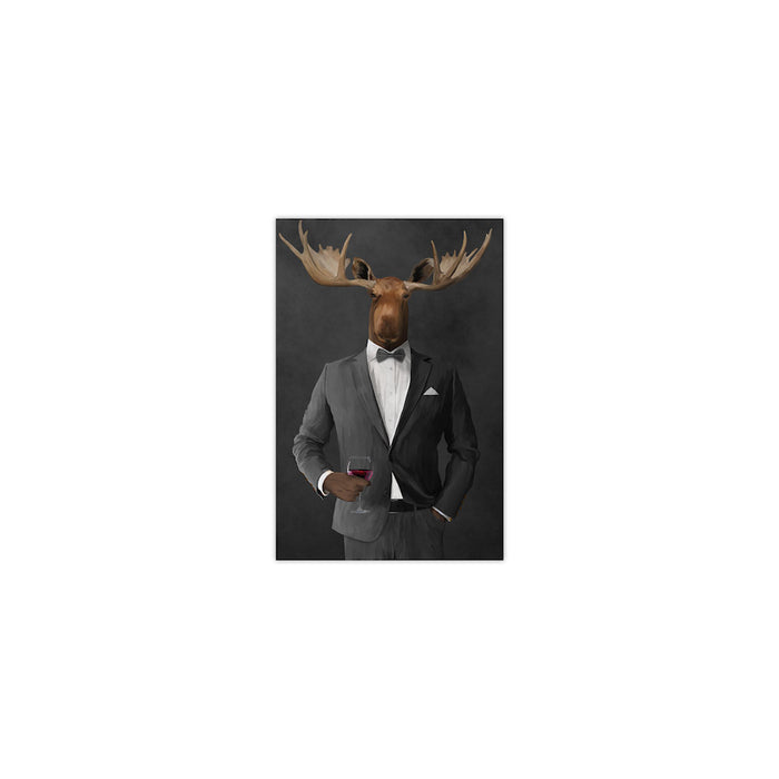 Moose drinking red wine wearing gray suit small wall art print