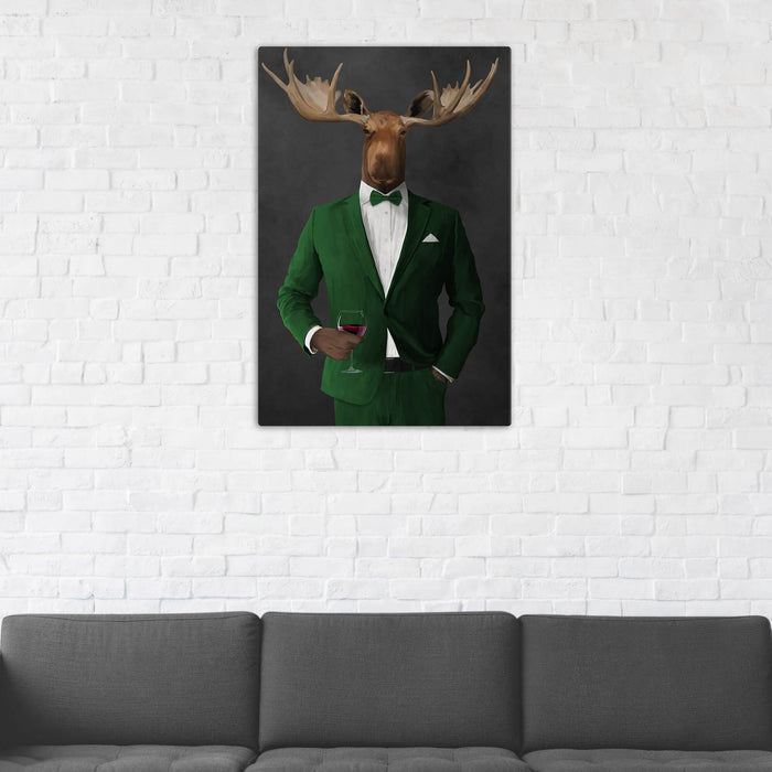Moose Drinking Red Wine Wall Art - Green Suit