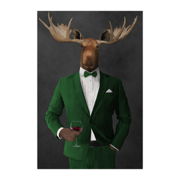 Moose drinking red wine wearing green suit large wall art print