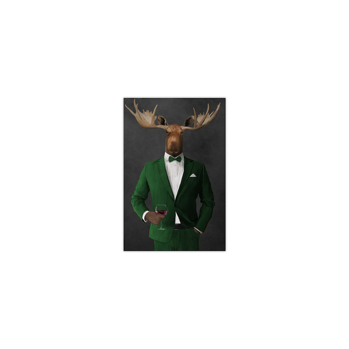 Moose drinking red wine wearing green suit small wall art print