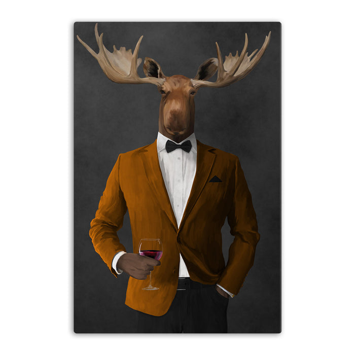 Moose drinking red wine wearing orange and black suit canvas wall art