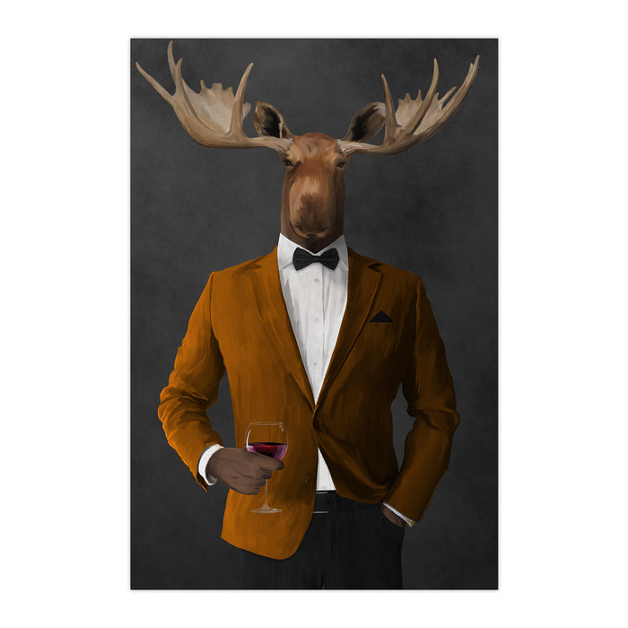 Moose drinking red wine wearing orange and black suit large wall art print