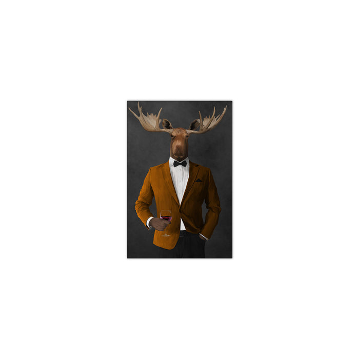 Moose drinking red wine wearing orange and black suit small wall art print