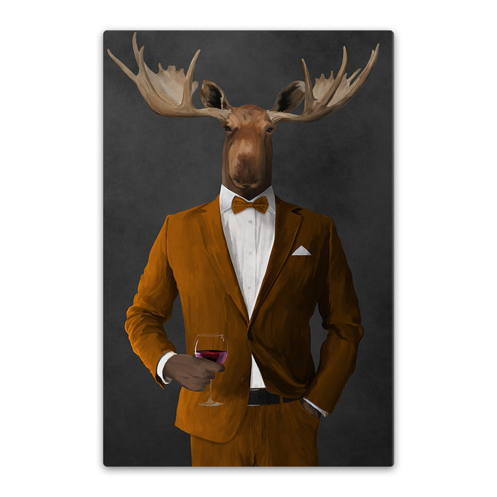 Moose drinking red wine wearing orange suit canvas wall art