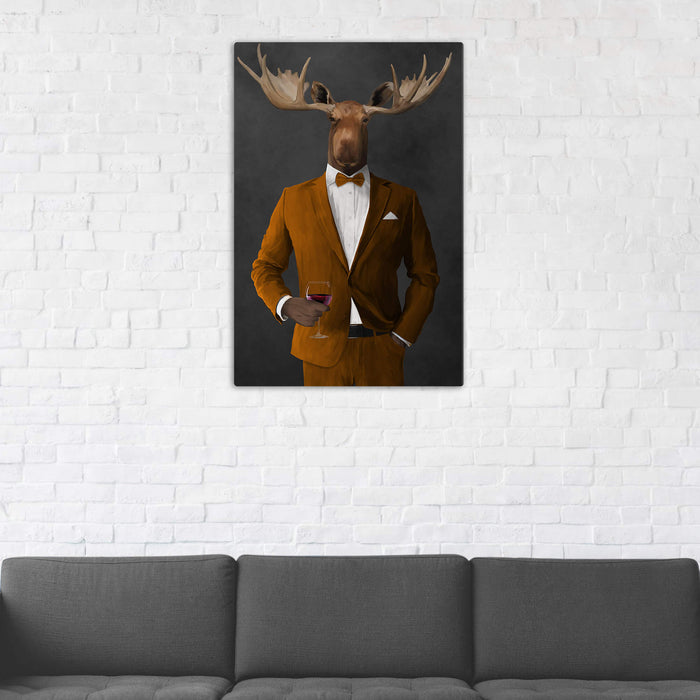 Moose Drinking Red Wine Wall Art - Orange Suit