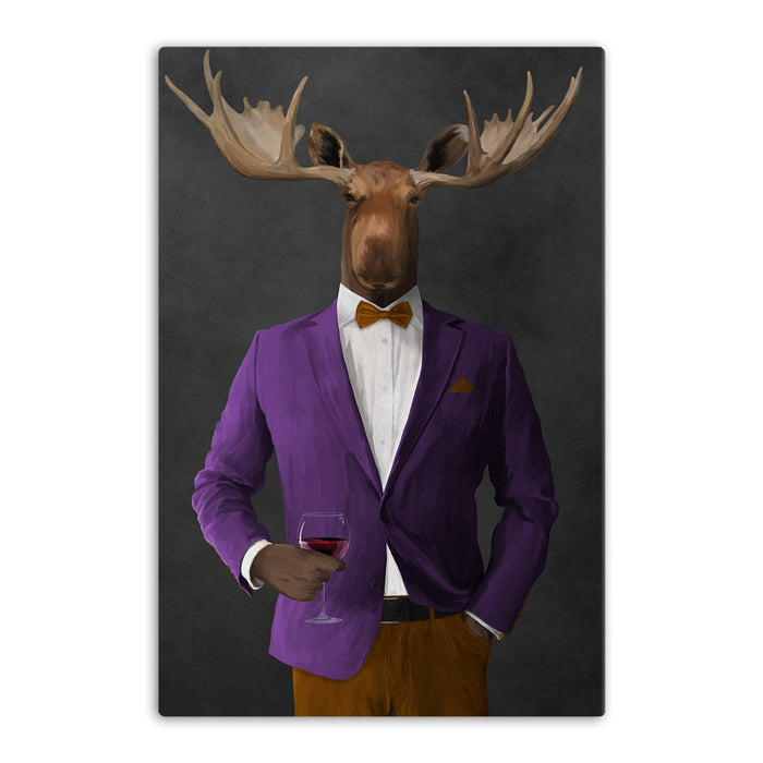 Moose drinking red wine wearing purple and orange suit canvas wall art