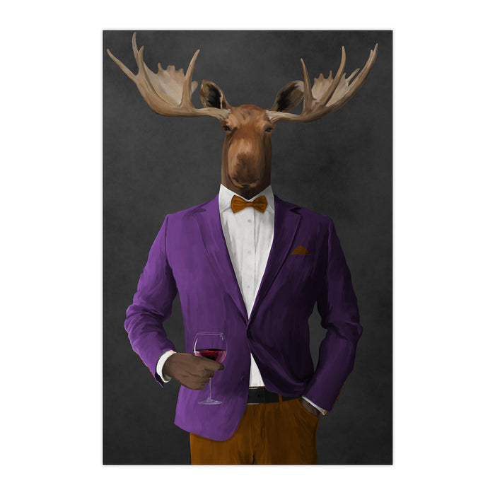 Moose drinking red wine wearing purple and orange suit large wall art print