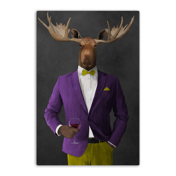 Moose drinking red wine wearing purple and yellow suit canvas wall art