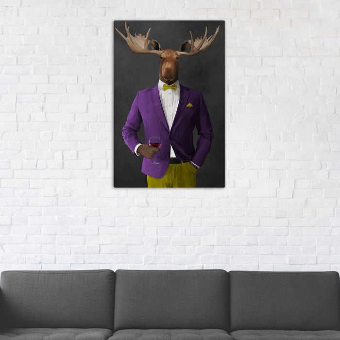Moose Drinking Red Wine Wall Art - Purple and Yellow Suit