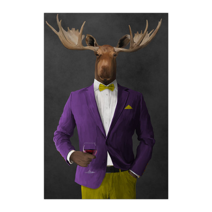 Moose drinking red wine wearing purple and yellow suit large wall art print