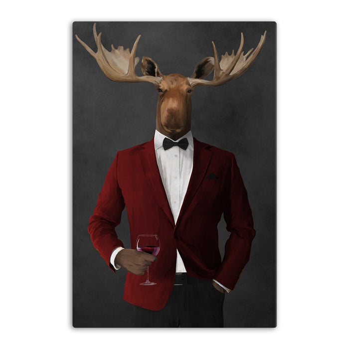 Moose drinking red wine wearing red and black suit canvas wall art