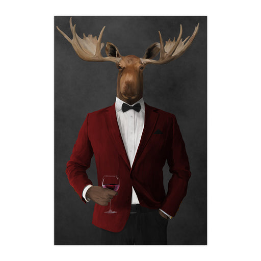 Moose drinking red wine wearing red and black suit large wall art print