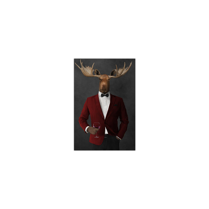 Moose drinking red wine wearing red and black suit small wall art print