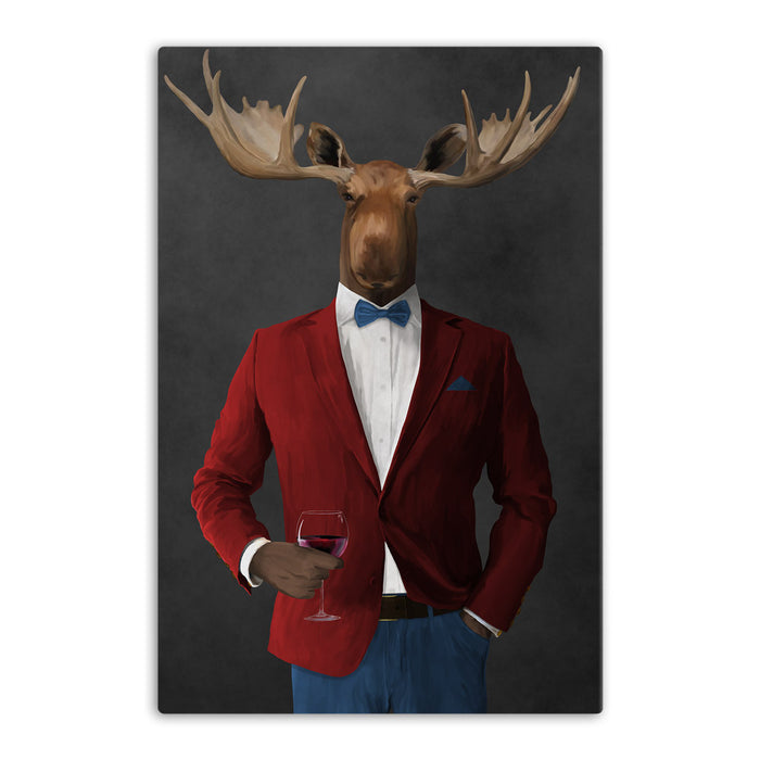 Moose drinking red wine wearing red and blue suit canvas wall art