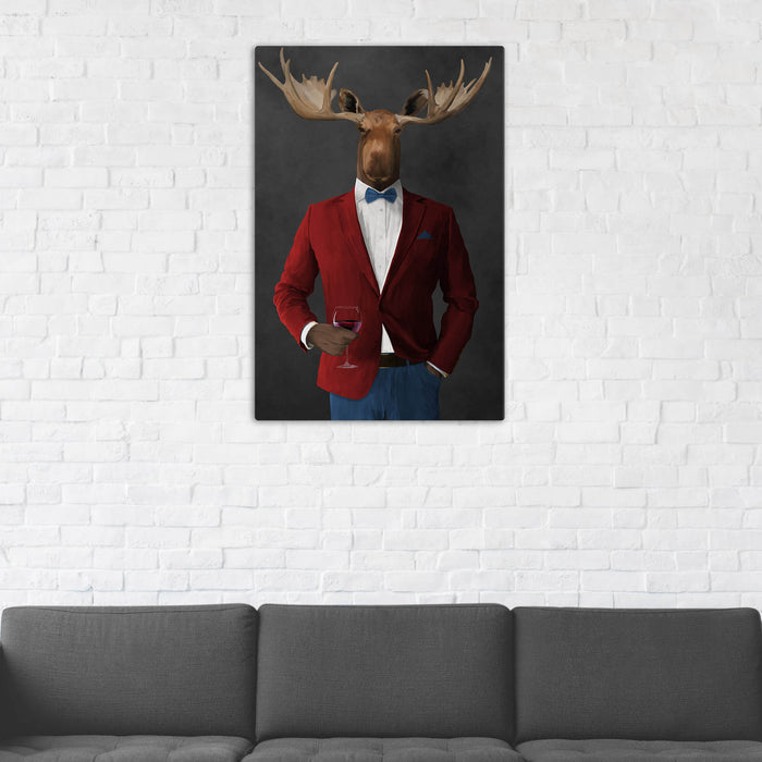 Moose Drinking Red Wine Wall Art - Red and Blue Suit