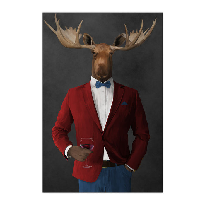 Moose drinking red wine wearing red and blue suit large wall art print